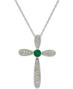 10k White Gold Necklace, Emerald (1/10 Ct. T.w.) And Diamond Accent Cross Pendant (1/4 Ct. T.w.)