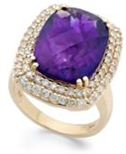 14k Gold Ring, Amethyst (9 Ct. T.w.) And Diamond (1 Ct. T.w.) Large Rectangle Ring