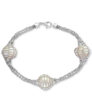 Final Call By Effy Cultured Freshwater Pearl (12mm) Caged Bracelet In Sterling Silver