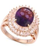 Cubic Zirconia February Baguette Statement Ring In 14k Rose Gold-plated Sterling Silver
