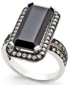 Onyx (8x18mm) And Swarovski Zirconia Statement Ring In Sterling Silver