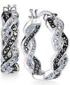 Unwritten Silver-tone Crystal Braided Hoop Earrings