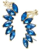 Abs By Allen Schwartz Gold-tone Blue Crystal Climber Earrings