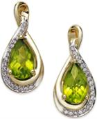 Peridot (1-4/5 Ct. T.w.) And Diamond (1/10 Ct. T.w.) Twist Earrings In 14k Gold