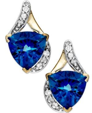 Blue Topaz (4 Ct. T.w.) And Diamond (1/8 Ct. T.w.) Earrings In 14k Gold
