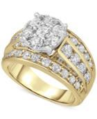 Diamond Cluster Engagement Ring (3 Ct. T.w.) In 14k Gold