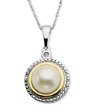 14k Gold And Sterling Silver Necklace, Cultured Freshwater Pearl And Diamond Accent Pendant