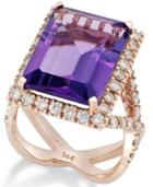 Amethyst (12 Ct. T.w.) And Diamond (1-1/4 Ct. T.w.) Ring In 14k Rose Gold