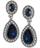 Carolee Silver-tone Blue Stone Pave Drop Earrings