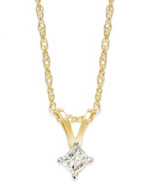10k Gold Necklace, Diamond Accent Princess-cut Pendant