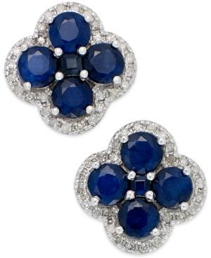 Sapphire (4 Ct. T.w.) And Diamond (1/4 Ct. T.w.) Clover Earrings In 14k White Gold