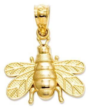 14k Charm, Polished And Satin Bee Charm