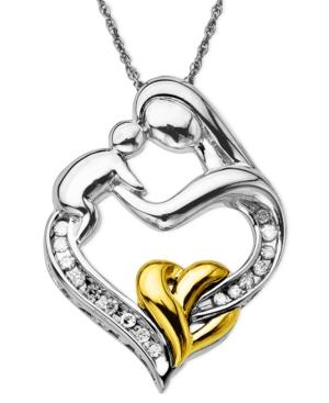 Diamond Necklace, 14k Gold And Sterling Silver Mother And Child Diamond Pendant (1/10 Ct. T.w.)