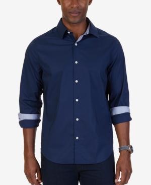Nautica Men's Wrinkle-resistant Stretch Dobby-print Shirt