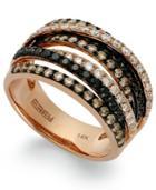 Confetti By Effy Multicolor Diamond Crossover Ring (1-1/3 Ct. T.w.) In 14k Rose Gold