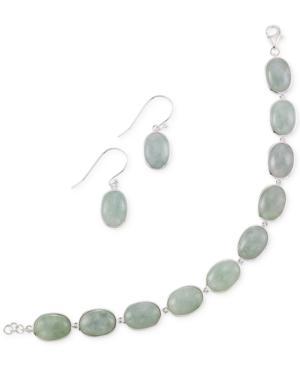 Jade Earring And Bracelet Set In Sterling Silver (13mm)