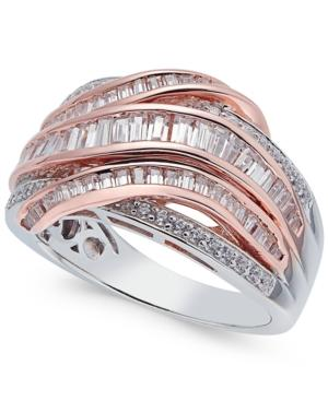 Diamond Two-tone Interwoven Ring (1 Ct. T.w.) In 14k Rose And White Gold