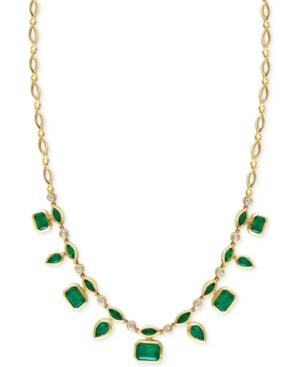 Effy Emerald (7 Ct. T.w.) And Diamond (1/3 Ct. T.w.) Pendant Necklace In 14k Gold