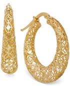 Textured Openwork Hoop Earrings In 18k Gold