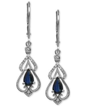 Sapphire (1 Ct. T.w.) And Diamond (1/10 Ct. T.w.) Drop Earrings In 14k White Gold