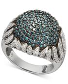 Diamond Ring, Sterling Silver Blue And White Diamond Dome Ring (1-1/2 Ct. T.w.)