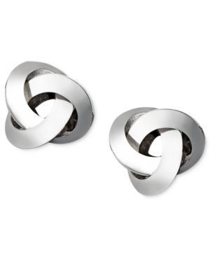 14k White Gold Earrings, Knot Stud