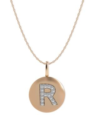 14k Rose Gold Necklace, Diamond Accent Letter R Disk Pendant