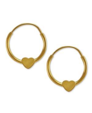 Children's 14k Gold Earrings, Heart Hoop