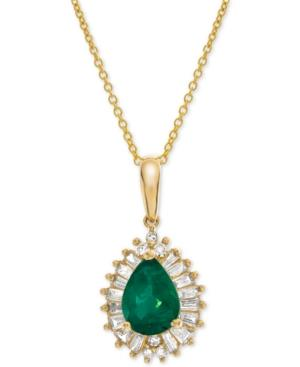 Emerald (3/4 Ct. T.w.) & Diamond (1/4 Ct. T.w.) 16 Pendant Necklace In 14k Gold