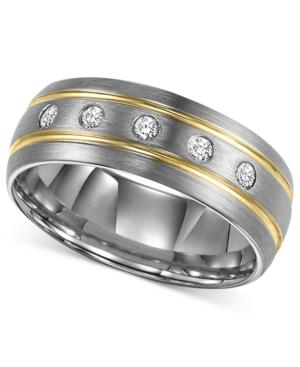 Triton Men's Diamond Ring, Tungsten Carbide Diamond Stripe Wedding Band (1/6 Ct. T.w.)