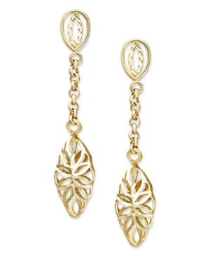 14k Gold Earrings, Diamond Cut Marquise Filigree Drop Earrings