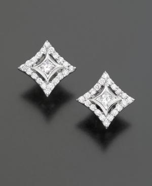 14k White Gold Noor-set Diamond Stud Earrings (1/2 Ct. T.w.)