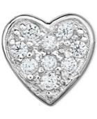 Diamond Accent Heart Single Stud Earring In 14k White Gold