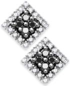 Diamond Earrings, 10k White Gold Black And White Diamond Square Stud Earrings (1/4 Ct. T.w.)