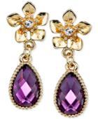 2028 Gold-tone Flower Purple Stone Drop Earrings