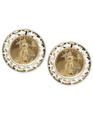 14k Gold Earrings, Coin Leverback Earrings
