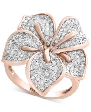 Pave Rose By Effy Diamond Flower Ring (7/8 Ct. T.w.) In 14k Rose Gold