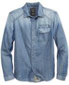 Guess Men's Embroidered-logo Denim Shirt
