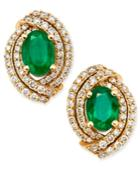 Emerald (2 Ct. T.w.) And Diamond (5/8 Ct. T.w.) Stud Earrings In 14k Gold