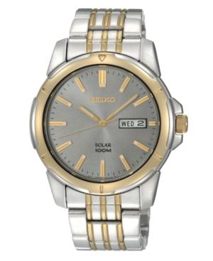 Seiko Watch, Men's Solar Two Tone Stainless Steel Bracelet 39mm Sne098