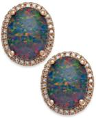 Opal Triplet (3 Ct. T.w.) And Diamond (1/4 Ct. T.w.) Oval Stud Earrings In 14k Rose Gold