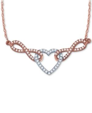 Diamond Pave Heart Pendant Necklace (1/4 Ct. T.w.) In 14k White And Rose Gold
