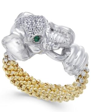 Diamond (1/5 Ct. T.w.) And Emerald Accent Elephant Popcorn Ring In Sterling Silver And 14k Gold-plated Sterling Silver