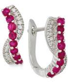Ruby (3/5 Ct. T.w.) And Diamond (1/8 Ct. T.w.) Earrings In 14k White Gold
