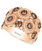 Le Vian Chocolatier Chocolate Deco Estate Vanilla And Chocolate Diamond Ring (2 Ct. T.w.) In 14k Rose Gold