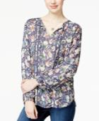 Lucky Brand Printed Crochet-inset Peasant Top