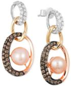 Le Vian Freshwater Pearl (7mm) And Diamond (3/4 Ct. T.w.) Link Earrings In 14k White, Yellow And Rose Gold
