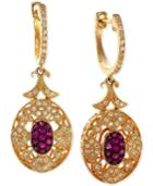 Effy Ruby (1/5 Ct. T.w.) And Diamond (1/3 Ct. T.w.) Earrings In 14k Gold