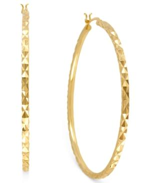 Hint Of Gold 14k Gold-plated Brass Earrings, 50mm Textured Hoop Earrings