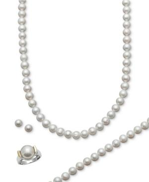 Belle De Mer Pearl Jewelry Set, 14k Gold And Sterling Silver Cultured Freshwater Pearl Necklace, Bracelet, Ring, And Stud Earring Set